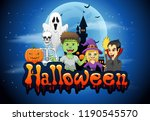 happy halloween background with ... | Shutterstock . vector #1190545570