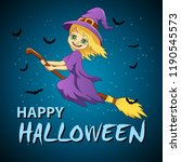 halloween flying little witch.... | Shutterstock . vector #1190545573