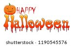 happy halloween background with ... | Shutterstock . vector #1190545576