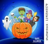 happy halloween background with ... | Shutterstock . vector #1190545579