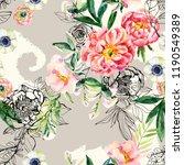 watercolor and ink doodle... | Shutterstock . vector #1190549389