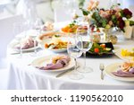 table setting with plates ...   Shutterstock . vector #1190562010
