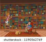 father reading a book to his... | Shutterstock .eps vector #1190562769