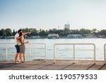 couple enjoy by the river side... | Shutterstock . vector #1190579533