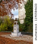 Small photo of Autumn picture of the bust monument of Jean-Hubert Cavens, a maecenas and philanthropist from the 19th century in Malmedy, Belgium