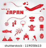 cute japan travel set | Shutterstock .eps vector #119058613