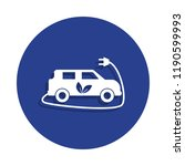 electric car icon in badge... | Shutterstock . vector #1190599993