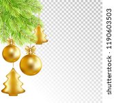 christmas fir tree and balls on ... | Shutterstock .eps vector #1190603503