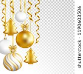 christmas balls and serpentine... | Shutterstock .eps vector #1190603506