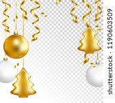 christmas balls and serpentine... | Shutterstock .eps vector #1190603509