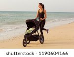 young mom is running with... | Shutterstock . vector #1190604166