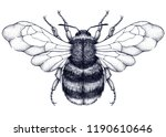 honeybee tattoo. dotwork tattoo.... | Shutterstock . vector #1190610646