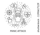 linear banners for panic attack.... | Shutterstock .eps vector #1190617129