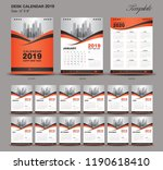 desk calendar 2019 year size  6 ... | Shutterstock .eps vector #1190618410