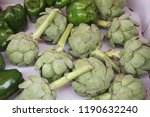 artichokes and peppers in the... | Shutterstock . vector #1190632240