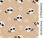 pattern with cute raccoons and... | Shutterstock .eps vector #1190640433