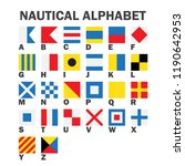 set of maritime signal flags.... | Shutterstock .eps vector #1190642953