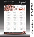 calendar 2020 year size 6x8... | Shutterstock .eps vector #1190647600