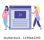 two woman using smartphone... | Shutterstock .eps vector #1190662240