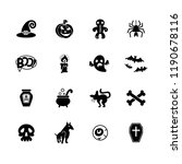 halloween icons. set of vector... | Shutterstock .eps vector #1190678116