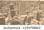 matte vintage. skyscrapers in... | Shutterstock . vector #1190708863