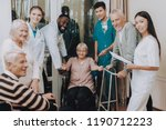 doctor in nursing home. smiling ... | Shutterstock . vector #1190712223