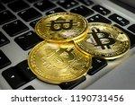 golden bitcoin cryptocurrency... | Shutterstock . vector #1190731456