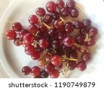 red grapes in plate   Shutterstock . vector #1190749879