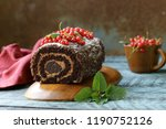 chocolate biscuit roll with... | Shutterstock . vector #1190752126
