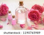rose oil in glass bottles with... | Shutterstock . vector #1190765989