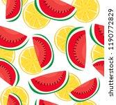 water melon and lemon seamless... | Shutterstock .eps vector #1190772829