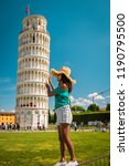 leaning tower of pisa  italy ... | Shutterstock . vector #1190795500