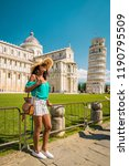 leaning tower of pisa  italy ... | Shutterstock . vector #1190795509