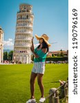 leaning tower of pisa  italy... | Shutterstock . vector #1190796169