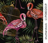 embroidery pink flamingos ... | Shutterstock .eps vector #1190802019