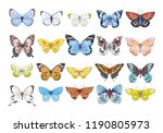 Stock photo set of beautiful watercolor butterflies blue yellow pink and red butterfly illustration 1190805973