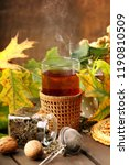 glass of hot tea an autumn day... | Shutterstock . vector #1190810509
