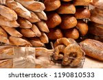 different types of bread and... | Shutterstock . vector #1190810533