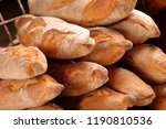 french baguette in metal basket | Shutterstock . vector #1190810536