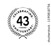 43 years design template. 43rd... | Shutterstock .eps vector #1190818756