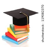 grad hat with books isolated on ... | Shutterstock . vector #119082370