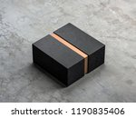 black box mockup with golden... | Shutterstock . vector #1190835406