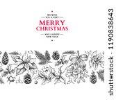 christmas garland frame. vector ... | Shutterstock .eps vector #1190838643