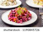 Stock photo russian food on dark background assortment salad of russian cuisine olivier salad vinaigrette 1190845726