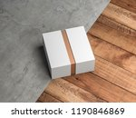 white box mockup with golden... | Shutterstock . vector #1190846869