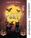 halloween hand drawn invitation ... | Shutterstock .eps vector #1190849899