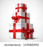 gift boxes with origami bows  ... | Shutterstock .eps vector #119085493