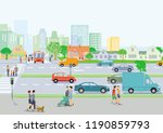 cityscape with local traffic... | Shutterstock .eps vector #1190859793