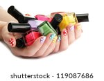 woman hands with nail polishes... | Shutterstock . vector #119087686