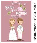 cute romantic couple in wedding ... | Shutterstock .eps vector #1190876980